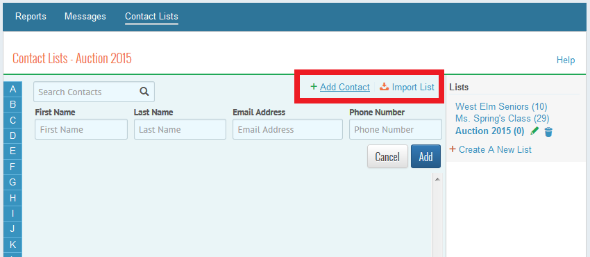 either add contacts one by one or click import to upload a list from your past signupcom signups a csv or excel file or from directoryspot teamsnap